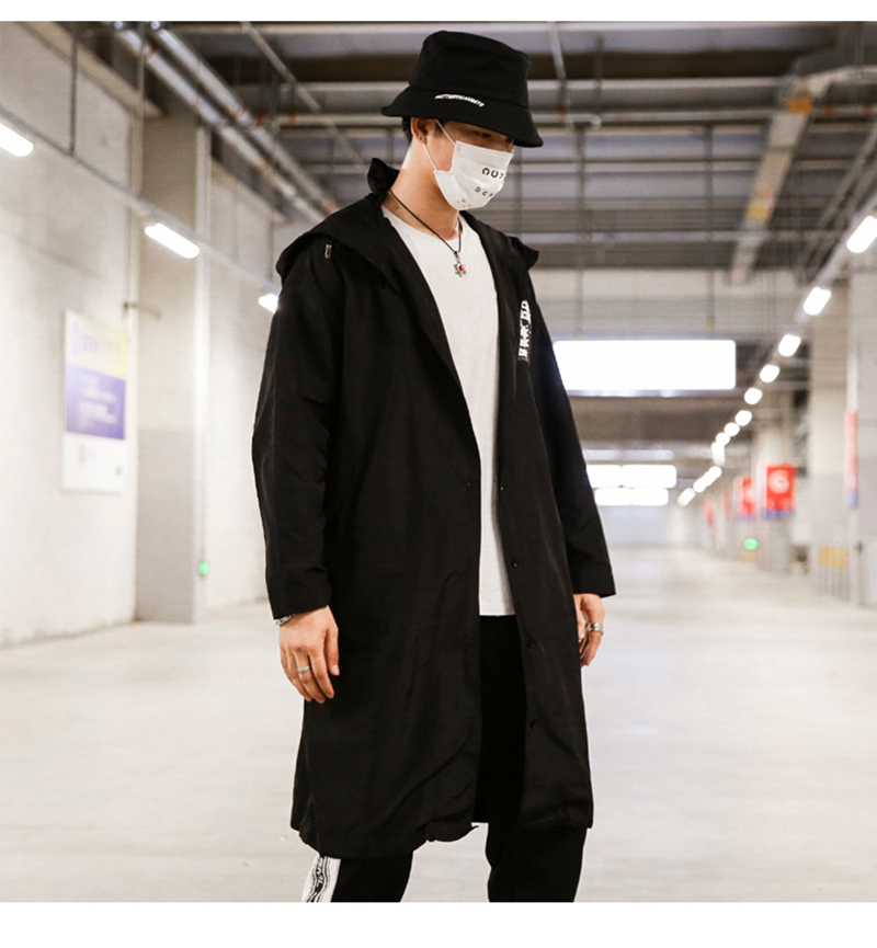 Long Men Trench Coat Casual Spring 2018 Slim Fit white Mens Hood Street South Korea Clothing (8)