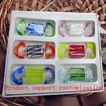 6pcs Manufacturers custom wedding decoration creative hand blown glass candy model accessories children gifts sets