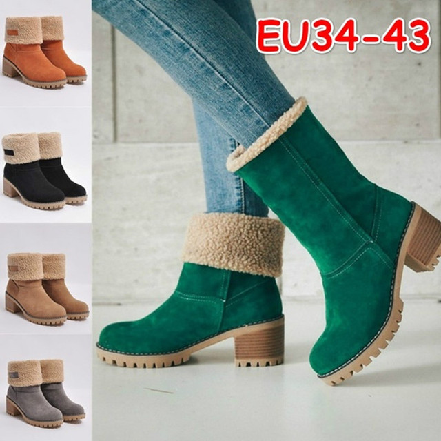 Women Winter Warm Ankle Boots Slip On Platform Casual Shoes Woman Gladiator Round toe Women Flats Shoe Suede Snow Boots