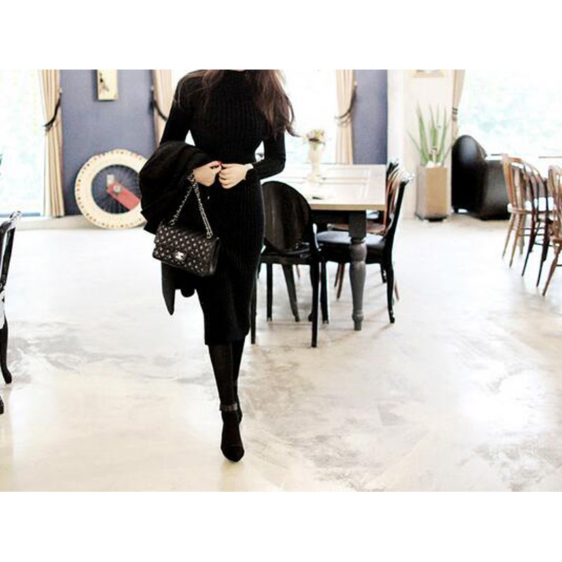 Knit Sweater Dress 2017 Autumn Winter Women Long-sleeved High-necked Slim Sexy Flexible Bandage Knitted Long Dresses JQ1193 4