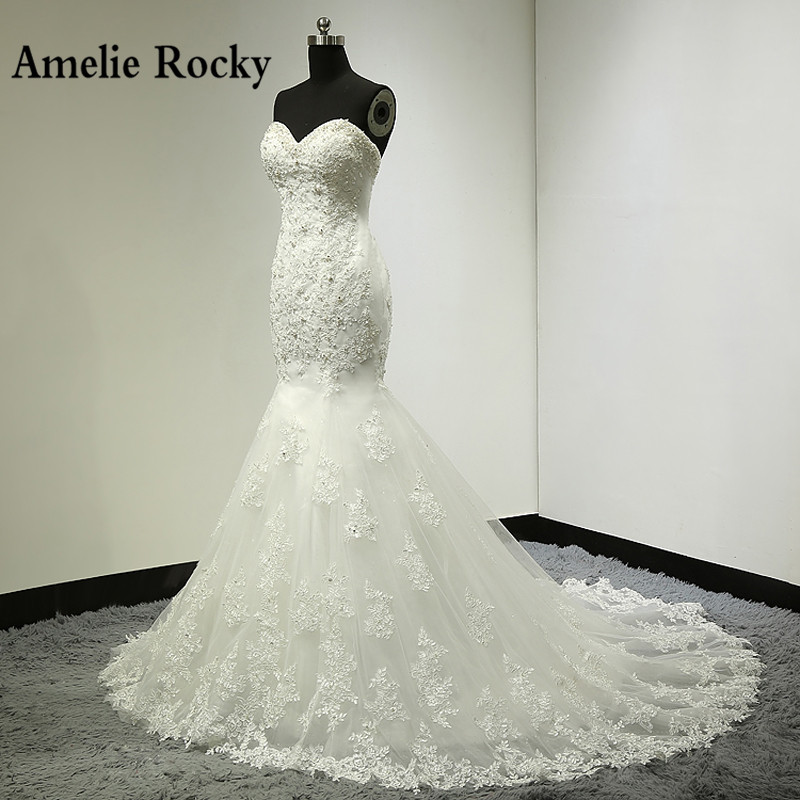 Vestido De Noiva 2020 Sexy Mermaid Wedding Dress Long Lace Beading Wedding Gown Embroidery Elegant Strapless Bridal Gown