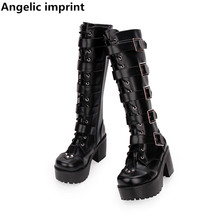 Pumps Motorcycle-Boots Rivets Party-Shoes Angelic Imprint Punk High-Heels Lolita Women