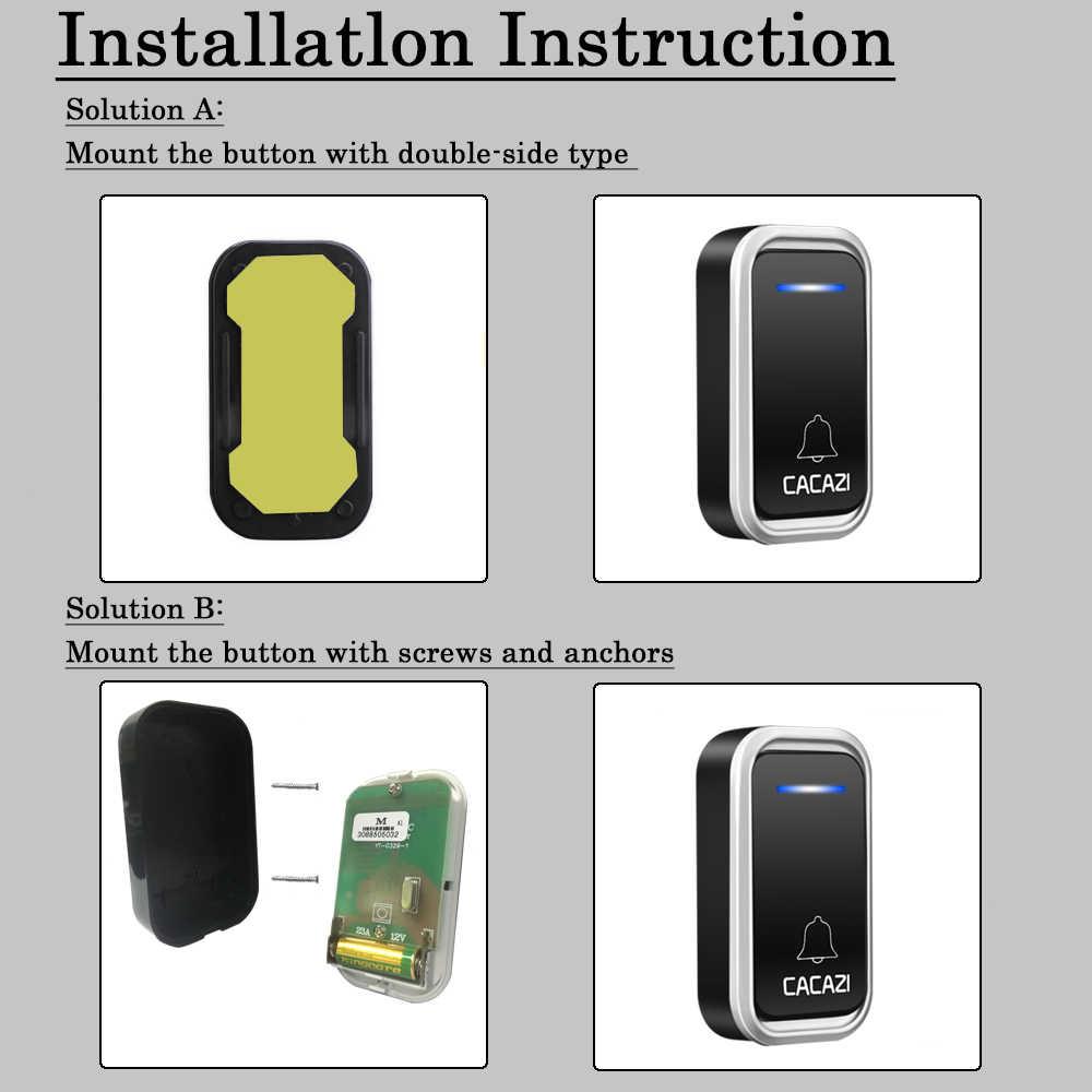 CACAZI Wireless Doorbell doorbell สมาร์ทระยะไกล 300 เมตร LED อัจฉริยะแบตเตอรี่ปุ่มโทรประตูเบลล์ EU Plug 38 Chime 3 ปริมาณ