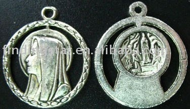 FREE SHIPPING 200pcs Tibetan silver Virgin Mary circle drops A1211