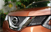 цена на Honeycomb style! Front Grille Grill Bezel Cover Trims For Nissan X-Trail 2014 2015 / Rogue 2014-2015