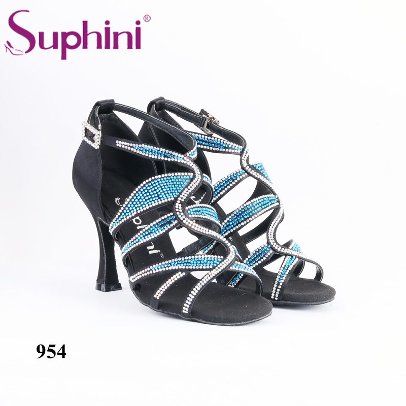 Suphini Shoes Latin Woman Blue Crystal Rhinestone Salsa Dance Shoe Professional Dance 8.5cm Heel Latin Dance Shoes Free Shipping