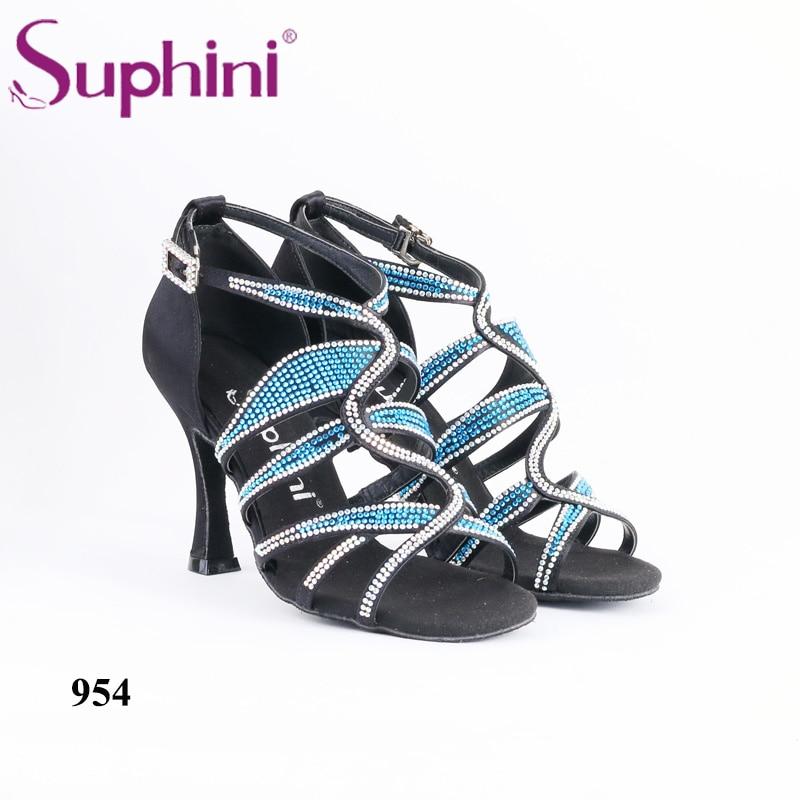 Suphini Shoes Latin Woman Blue Crystal Rhinestone Salsa Dance Shoe Professional Dance 8.5cm Heel Latin Dance Shoes Free Shipping free shipping 2015 suphini purple latin shoes satin salsa shoe woman dance shoes zapatos de baile
