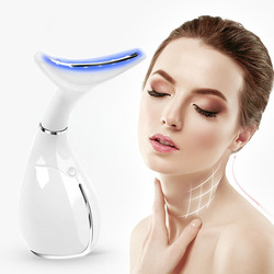 Pescoço cuidados com a pele beleza instrumento led fóton vibração pescoço levantamento da pele apertar anti rugas remover dispositivo massageador