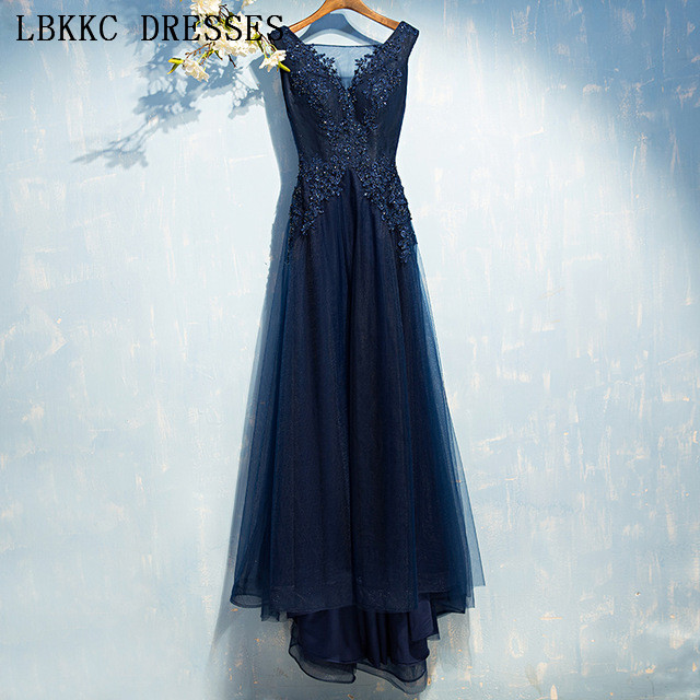 Sleeveless Navy Blue   Prom     Dresses   Tulle Vestido De Festa Appliques Beading Gala Jurken Long   Prom     Dress   Women Evening   Dress