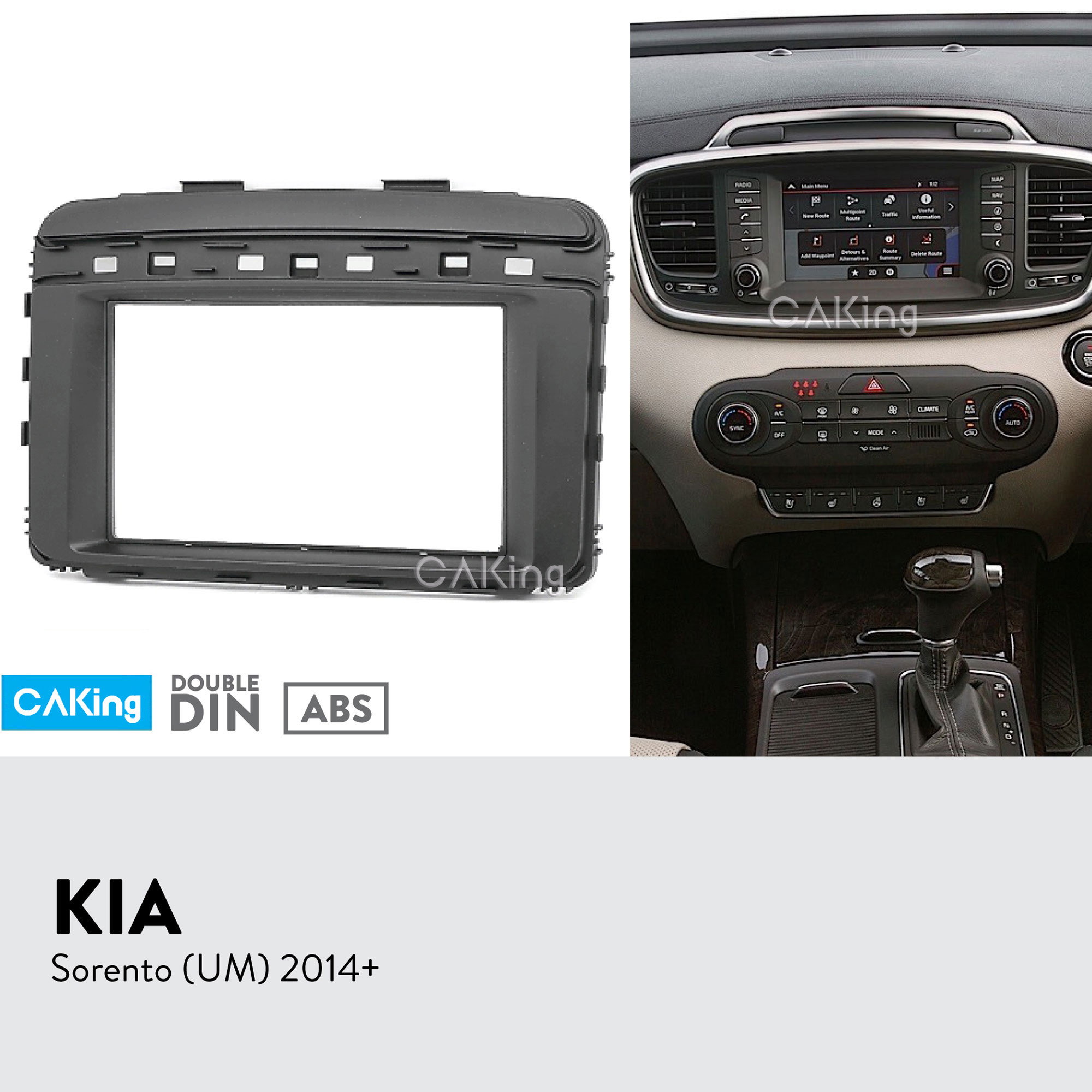 Double Din Car Fascia Radio Panel for KIA Sorento UM 2014 Dash Kit Install Mount Facia