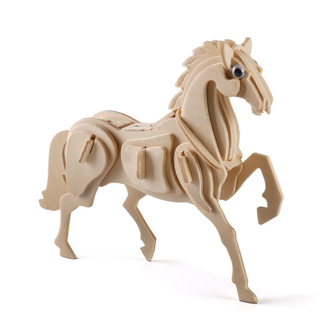 Cavallo Di Legno Giocattolo.Bohs Modello Animale Cavallo Di Legno Di Puzzle 3d Diy Giocattoli In