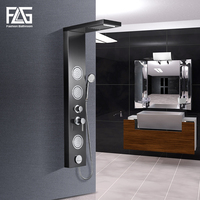 FLG Massage Shower Panel Wall Mounted Black Rain Mixer Shower Panel Shower Column Faucet Massage Jets