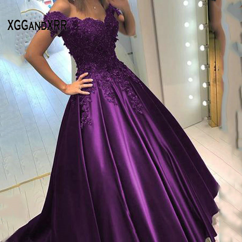 Sexy V Neck Purple Long Satin   Prom     Dresses   2019 Royal Blue Lace Applique Crystals A Line Long Formal Evening   Dress   Party Gowns
