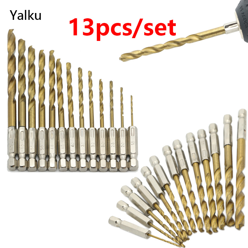 Yalku Wood Drilling Twist Drill Bit Tool Kit Drill Bit Set Power Tool Woodworking Bit Set 13pcs High Speed Steel Tool Kit HSS yalku countersink drill woodworking screw drill bit set power tool set wood drilling 5 8pcs cone drill bits metal tool kit