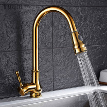 Spray-Sink-Mixer Kitchen Faucet Water-Tap Swivel-Pull-Out Brass Black/chrome-Pull-Down