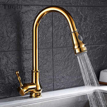 Free Shipping Three colors:Gold/Black/Chrome Pull Down Kitchen Faucet Solid Brass Swivel Pull Out Spray Sink Mixer Tap Water tap - DISCOUNT ITEM  29% OFF Home Improvement