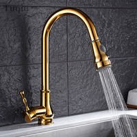 Free Shipping Three Colors Gold Black Chrome Pull Down Kitchen Faucet Solid Brass Swivel Pull Out