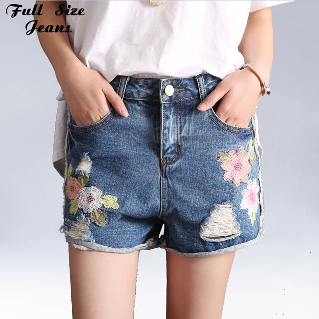 Plus Size Floral Embroidered Hot Pants Loose Ripped Denim Shorts ...