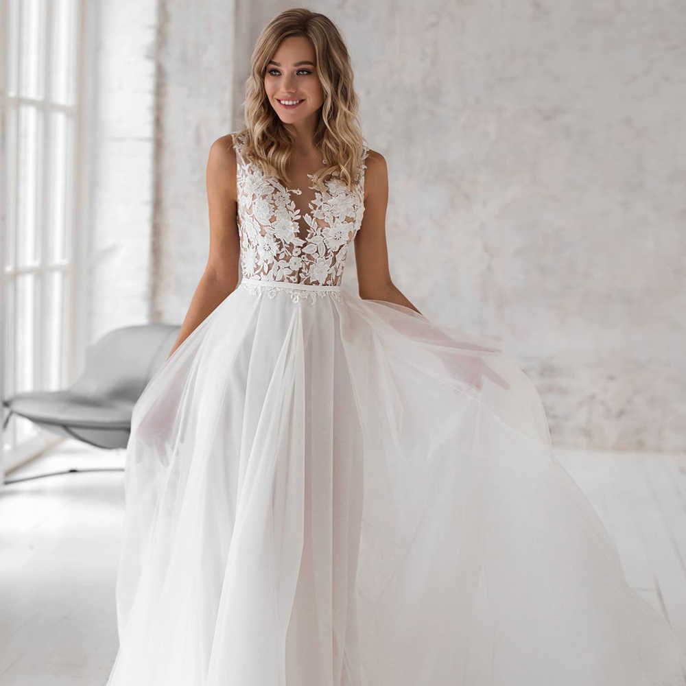 Elegant Bohemian Wedding Dresses 2019 Lace Appliques Tulle Bridal Dress  Customized Plus Size Wedding Gown