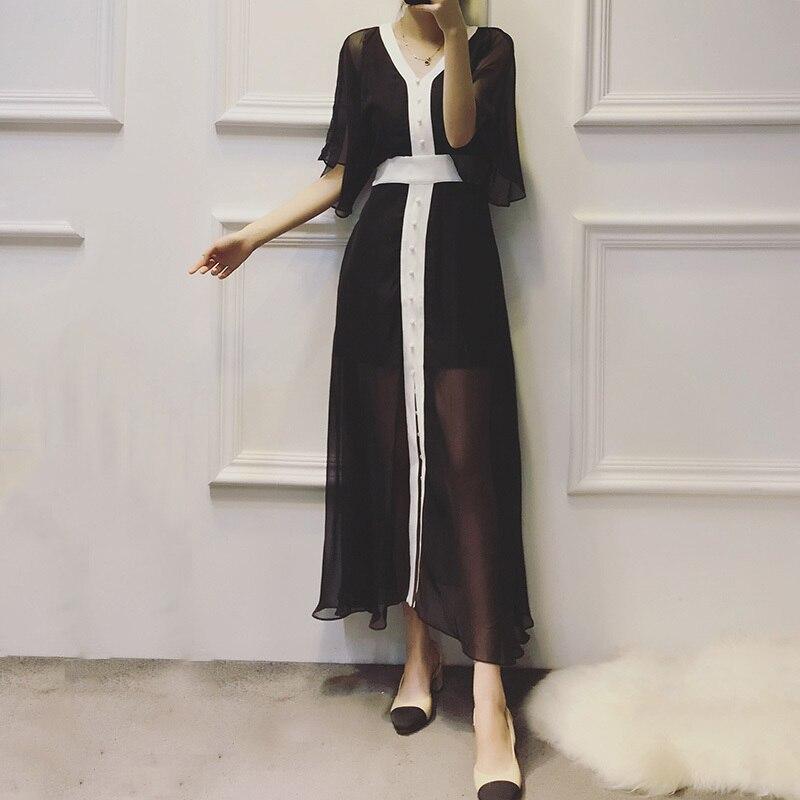 V Coréens Manches Midi De Vêtements Robes D'été Noir Black Mode Flare 2018 Mousseline Casual Cou Robe Yd Soie Femmes Femelle Sexy ever wzpBqU