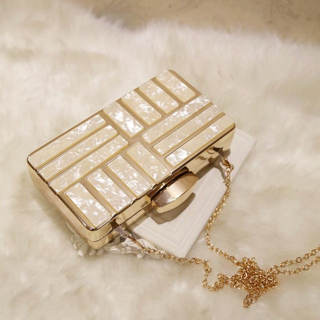 Luxury Acrylic Decoration Chain Cross body Wedding  Purses Clutches