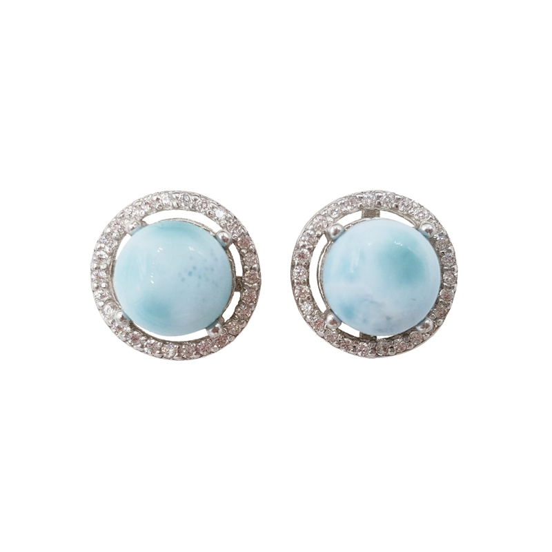 LiiJi Unique Natural Caribbean Blue Larimar Classic Luxury Shining Zircon Real 925 Sterling Silver Stud Earring For Women Gift