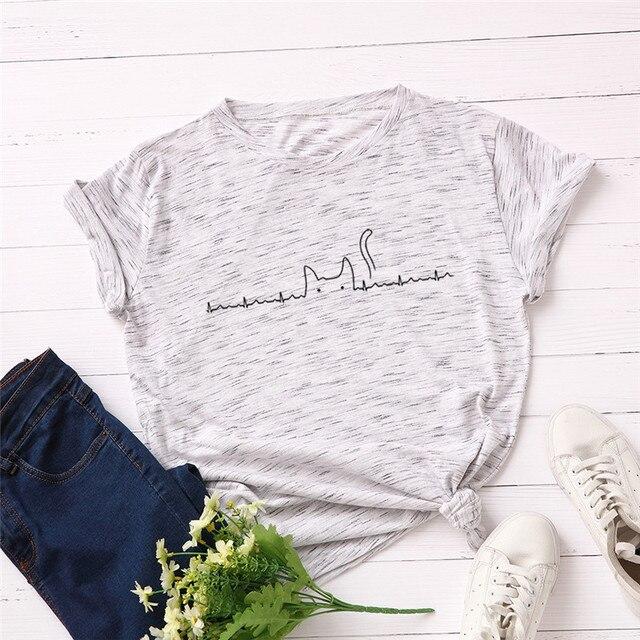 Plus Size S 5XL Lovely Cat Print T Shirt Women 100 Cotton O Neck Short Sleeve