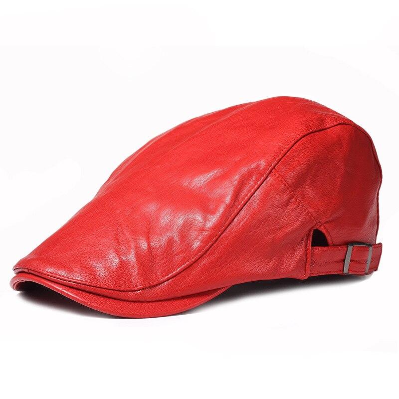 Geersidan invierno otoño artificial pu cuero Beret sombrero hombres mujeres  moda plana visera gorras boina negro colores Rojo Tapa ajustable en Boinas  de ... 1687e4ddfa9