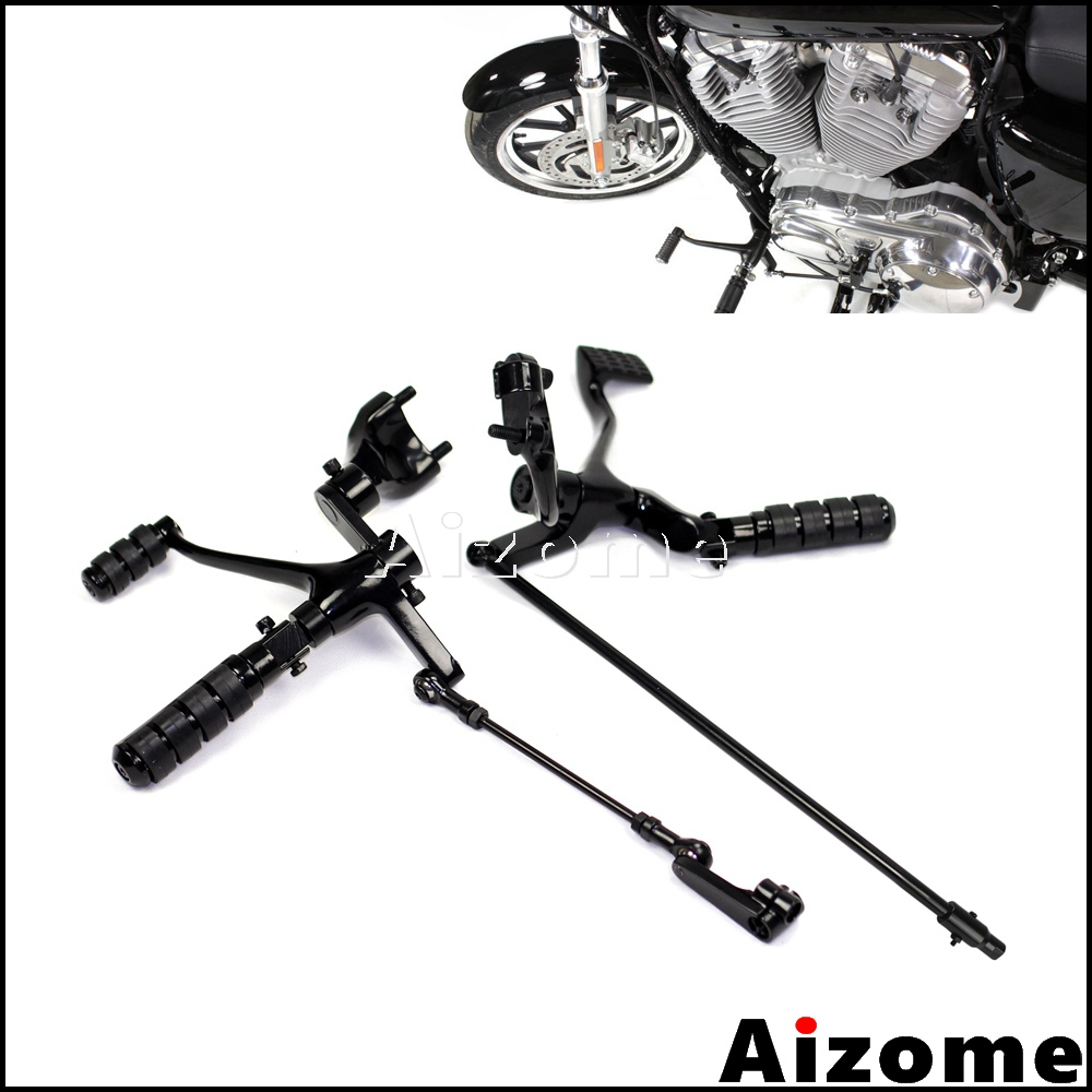 Black Motorcycle Footpeg Forward Controls Forward Control Kit For Harley Sportster 883 Iron XL883N 2014 2015 2016 2017