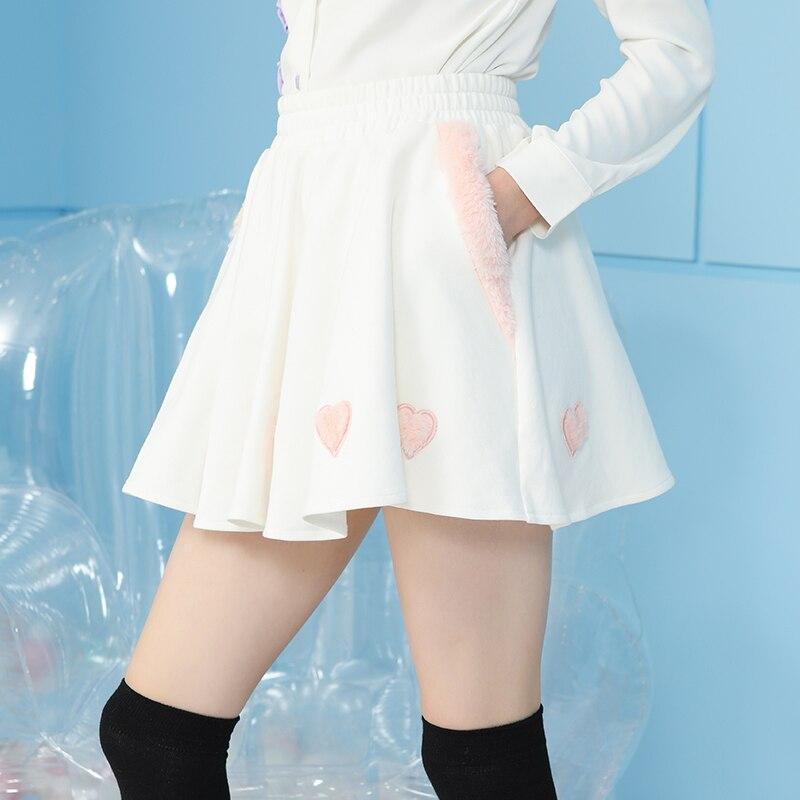 Princesse sweet lolita jupe Fourrure en forme de Coeur Autocollant jupe d'hiver Super-grand Mince Demi-longueur Jupe de mode femmes VC275