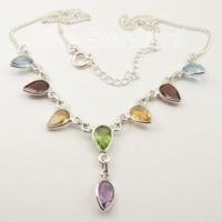 Chanti International Pure Silver Fancy CUT MULTISTONE MULTICOLOR CUTE Adjustable Necklace 45.5 CM