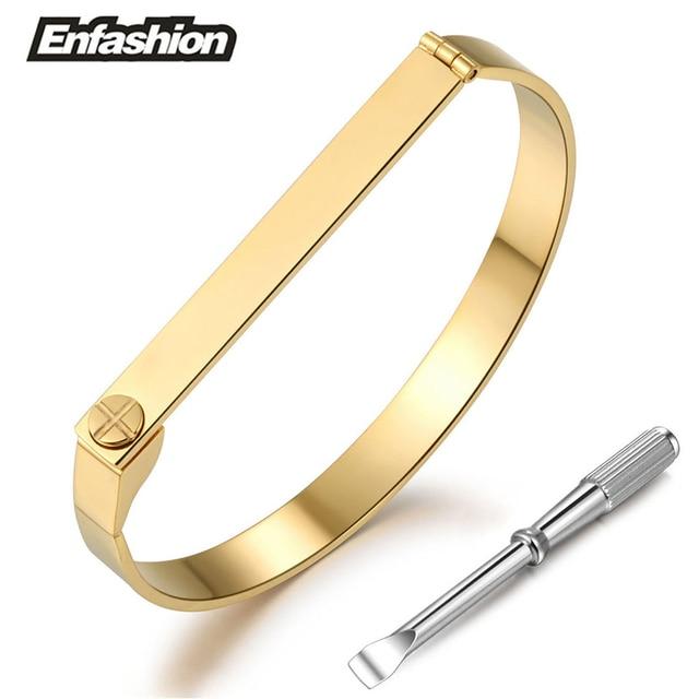 Enfashion Flat Bar Screw Bracelet Noeud Armband Gold Color Bangle
