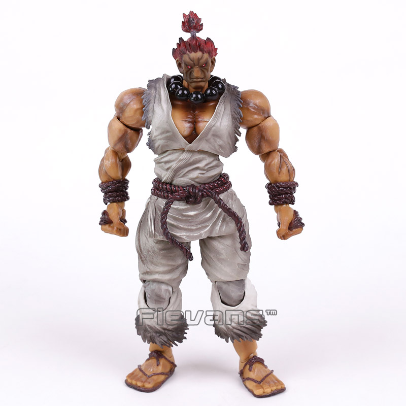 ФОТО PLAY ARTS KAI Street Fighter IV 4 Gouki Akuma Limited Color White ver. PVC Action Figure Collectible Model Toy