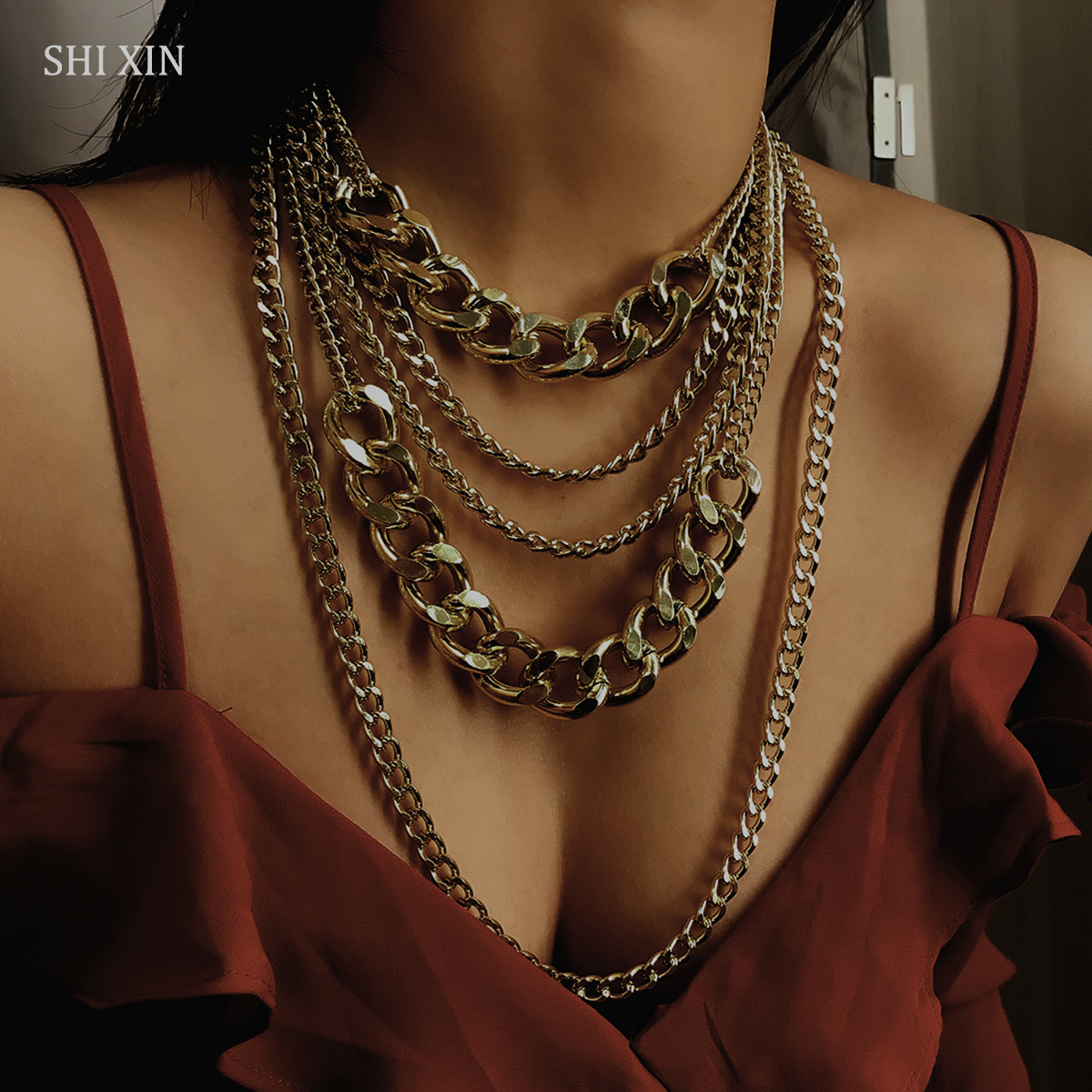 SHIXIN Punk Exaggerated Big Layered Thick Cuban Link Chain Choker Necklace Women Fashion Hippie Modern Night Club Jewelry GiftsSHIXIN Punk Exaggerated Big Layered Thick Cuban Link Chain Choker Necklace Women Fashion Hippie Modern Night Club Jewelry Gifts