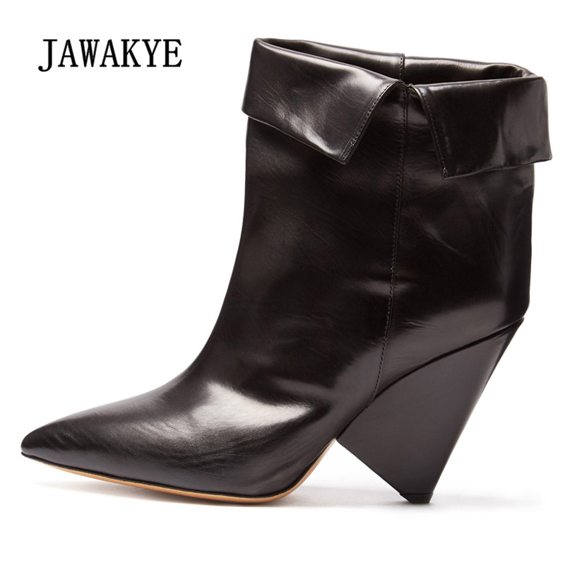 2019 Retro Real Leather Ankle Boots Women Pointed Toe Strange High Heel Boots Woman Fashion Short Boots 2019 Retro Real Leather Ankle Boots Women Pointed Toe Strange High Heel Boots Woman Fashion Short Boots