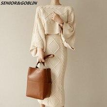 Женский трикотажный комплект из 2 предметов, Свободный Топ с рукавом «летучая мышь» и облегающая юбка, костюм с свитером, Осень зима 2020