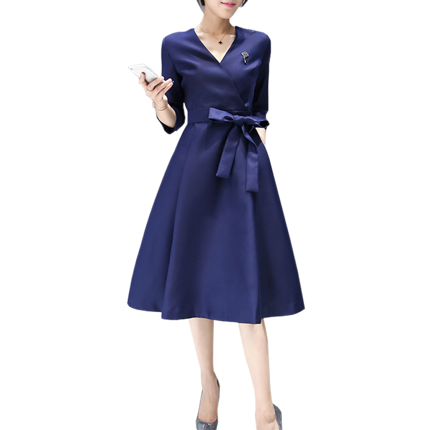 2017 New Women Office Dress Spring Fashion Elegant Ladies Solid V Neck Three Quarter Sleeveless