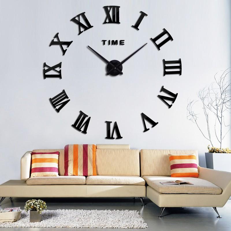 promotion 16 new home decor large roman mirror fashion modern Quartz clocks living room diy wall clock watch free shipping 5
