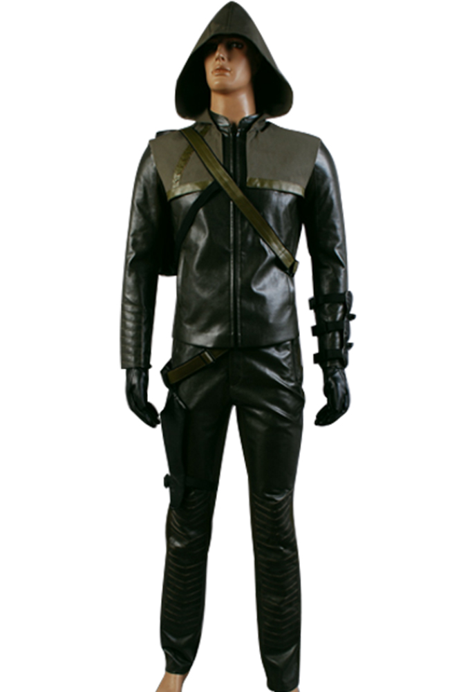 Green Arrow Cosplay Costume Oliver Queen Man Full Set Costume Jacket Coat Custom Made Any Size