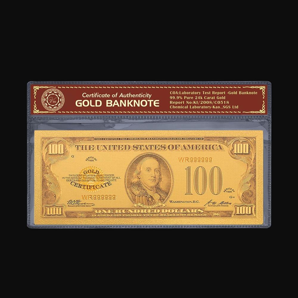 10PCS Gold Banknote Bill 10 Dollars World Paper Money Gold Foil Colorful Artwork