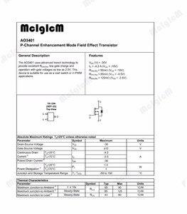 Image 2 - Mcigicm AO3401A Năm 100Pcs SMD P Kênh 30V 4A (Ta) 1.4W (Ta) MOSFET Bóng Bán Dẫn Sot 23 AO3401