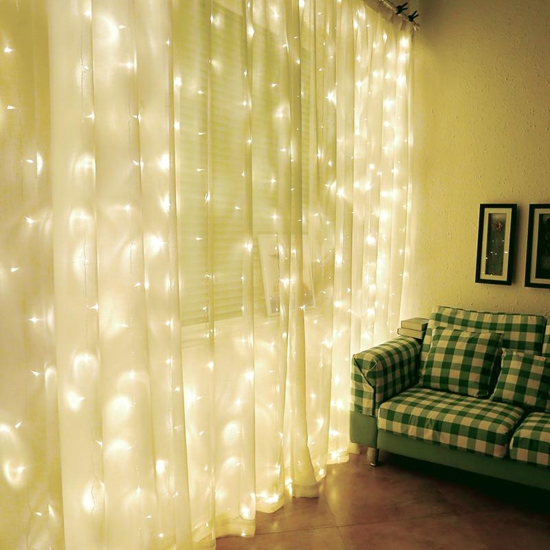 AC220V 1x2M / 2x2M / 6X3M LED aiskrim tirai tali cahaya dongeng Xmas - Pencahayaan perayaan - Foto 3