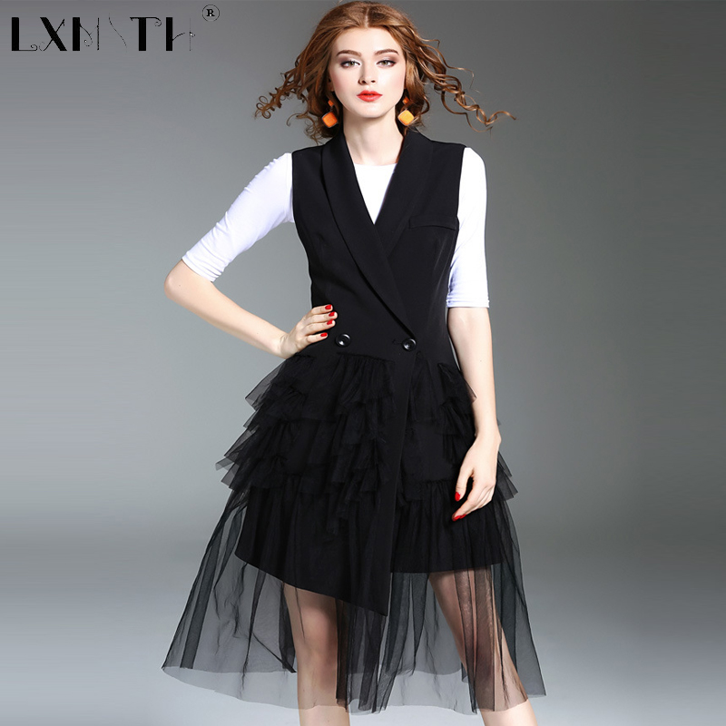 Nouveau automne printemps fête manteau veste femmes maille Patchwork veste femme avec bouton tourner vers le bas col robe manteaux dames noir XL