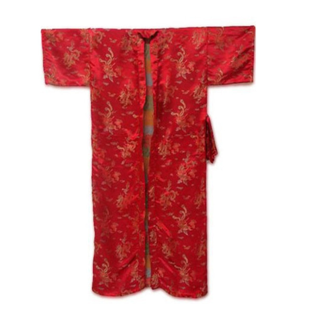 Promotion Red Chinese Men's Silk Polyester Robe Novelty Bath Gown Vintage Embroidered Dragon Sleepwear Size S M L XL XXL ZR22