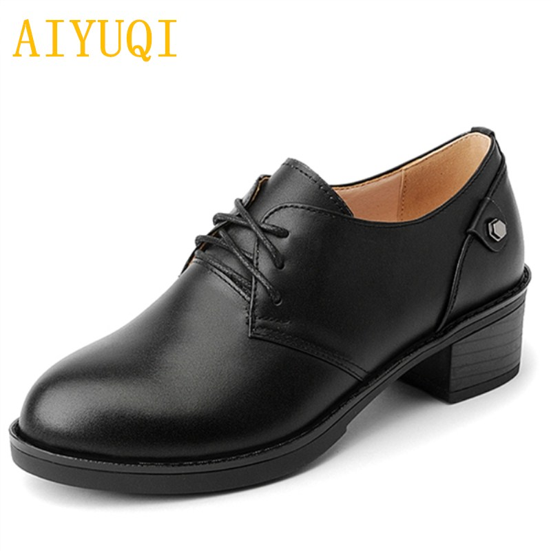 AIYUQI 2018 autumn new 100% natural genuine leather women shoes fashion sexy wild lace large size 34-43 casual shoes women Briti aiyuqi 2018 spring new women s genuine leather shoes waterproof platform sexy plus size 41 42 43 fashion heel shoes female