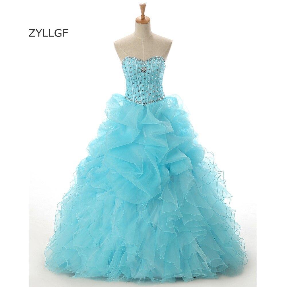 ZYLLGF Vestido De Quinceanera robe De bal chérie volants Organza robe Quinceanera cristal perlé 16 ans robes Q215