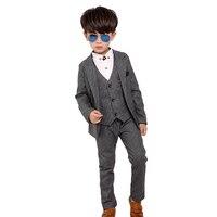 חדש 3 יחידות ילדי ילדי חליפות ליזר החתונה ילד חליפה אחת חזה חליפות חתונה תחפושת רשמית enfant garcon mariage בגדים סט