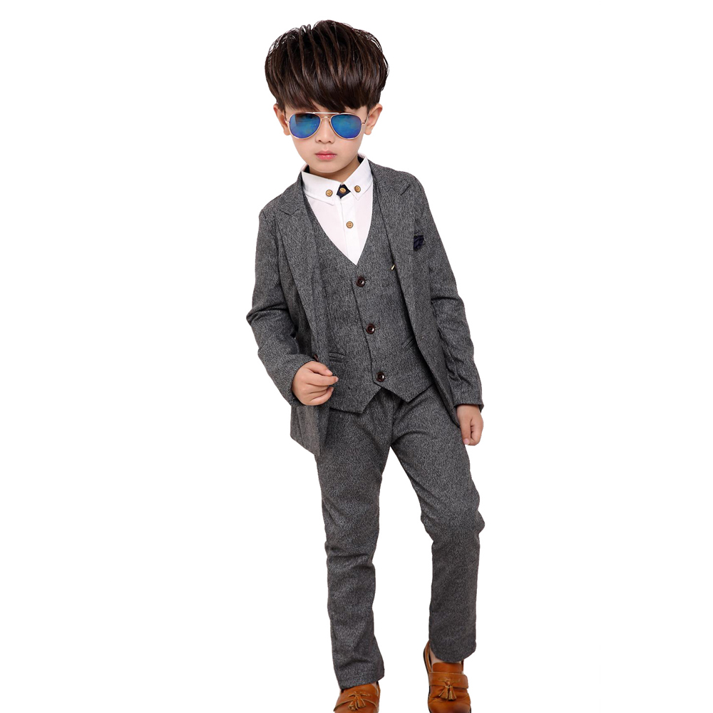 New 3pcs Kids Suits Boys Wedding Blazer Suit Single Breasted Wedding Suits Boy Formal Costume enfant garcon mariage Clothing Set single breasted lapel flap pocket business blazer