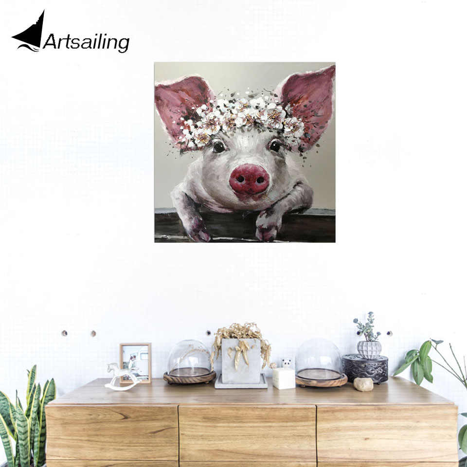 ArtSailing 1 Piece Canvas Wall Art Bristle Pig Wearing Wreath Canvas Bristle with Flower Crown Posters and Prints Bathroom Decor