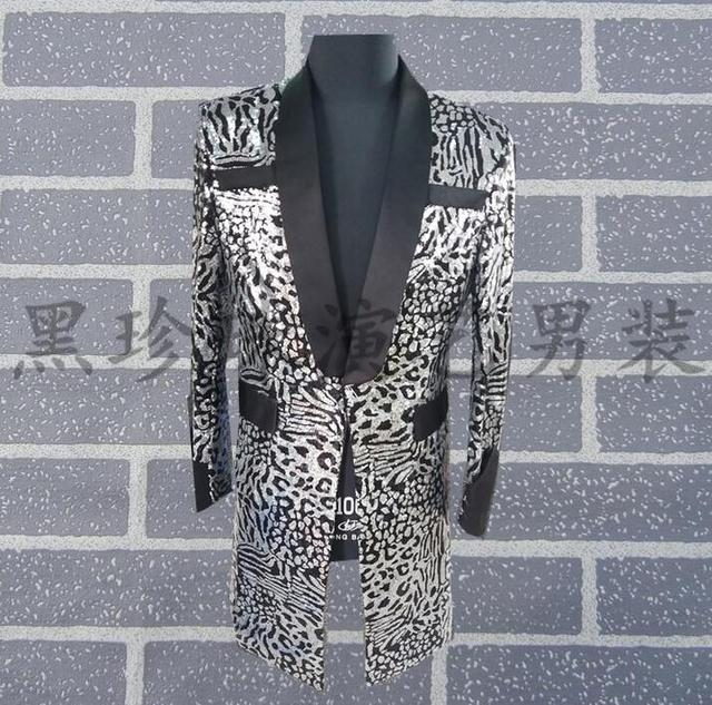 Silver Leopard Print Men Suits Masculino Homme Terno Stage Costumes Singers Men Sequin Blazer Dance Clothes Jacket Star Style